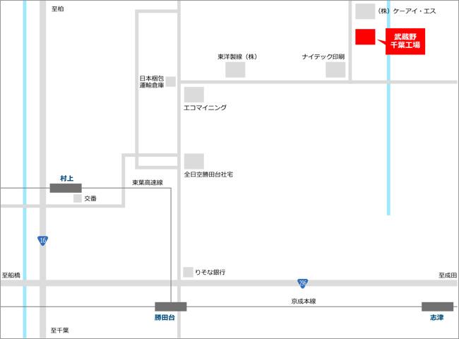 » 千葉工場(八千代センター)株式会社武蔵野周辺地図