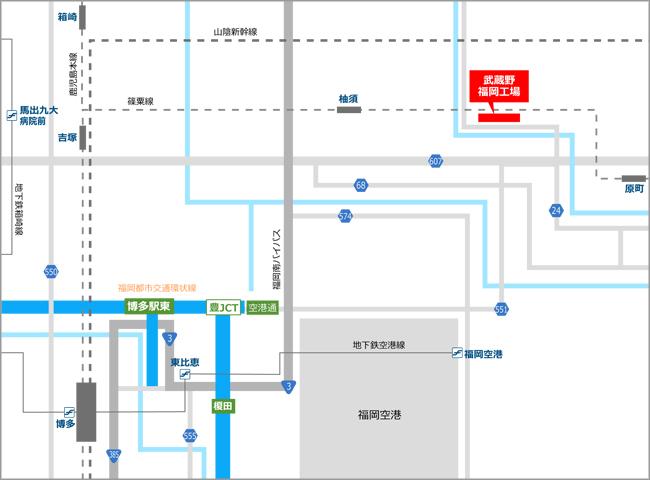 » 福岡工場株式会社武蔵野周辺地図