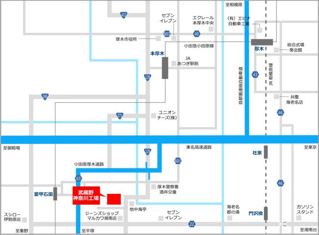» 神奈川工場株式会社武蔵野周辺地図