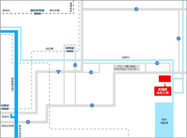 » 仙台工場株式会社武蔵野周辺地図