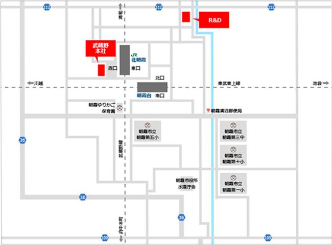» 武蔵野グループR&Dセンター株式会社武蔵野周辺地図