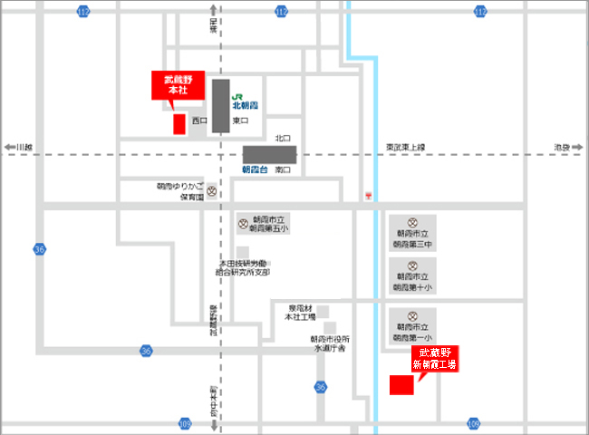 » 朝霞工場株式会社武蔵野周辺地図