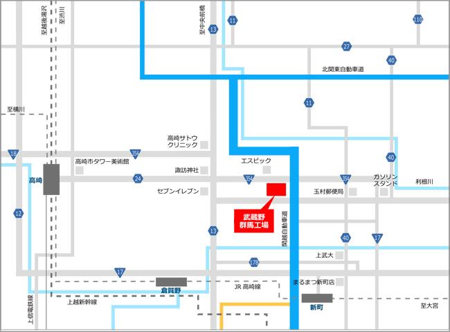 » 群馬工場株式会社武蔵野周辺地図